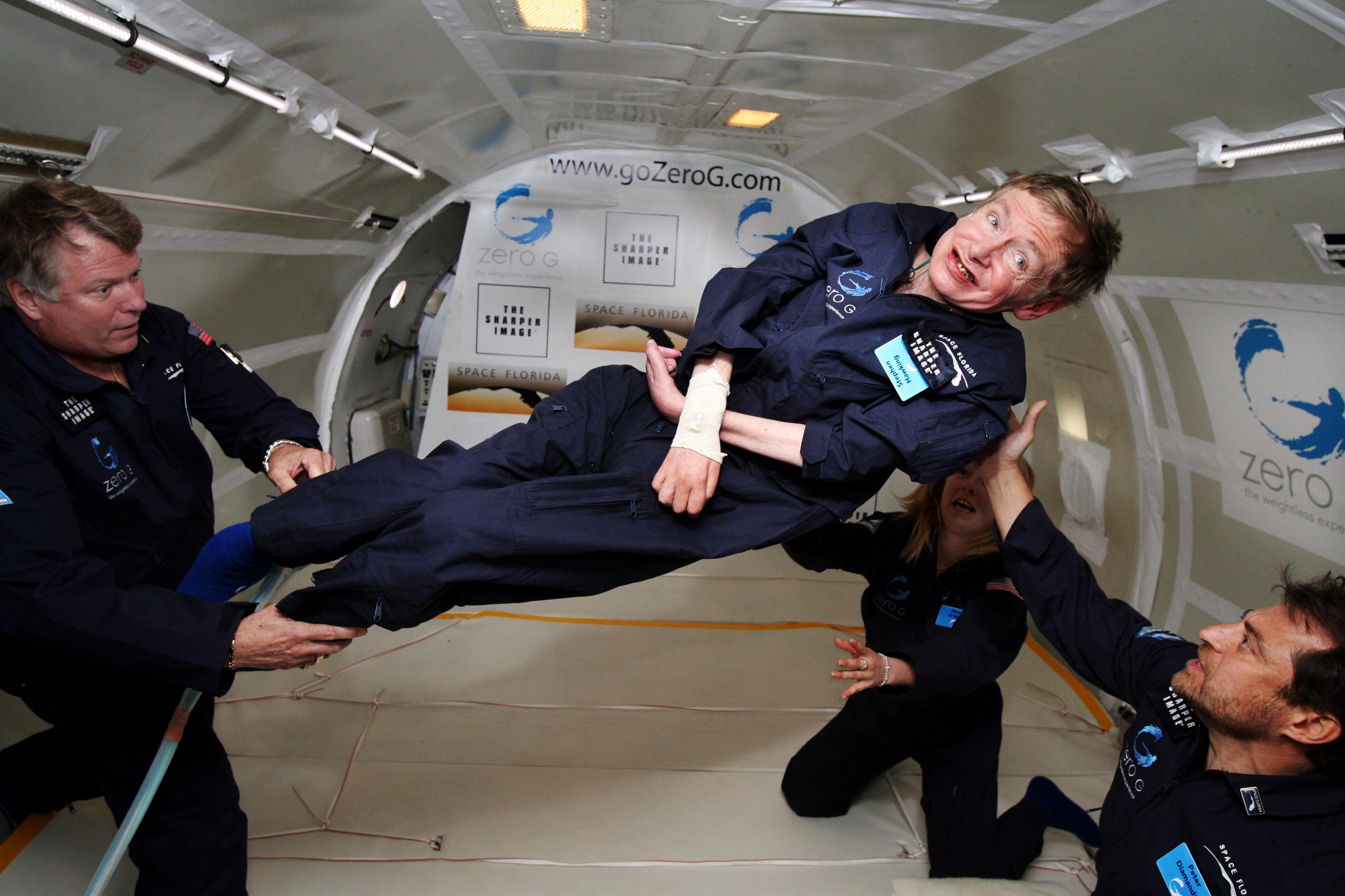 Physicist Stephen Hawking Floating in Zero G with a Smile on His Face