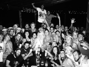 Black and white pic of a group of over 40 people partying for Christmas in Salta, Argentina.