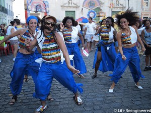 Some samba dancers mid-move on the streets of Pelourinho