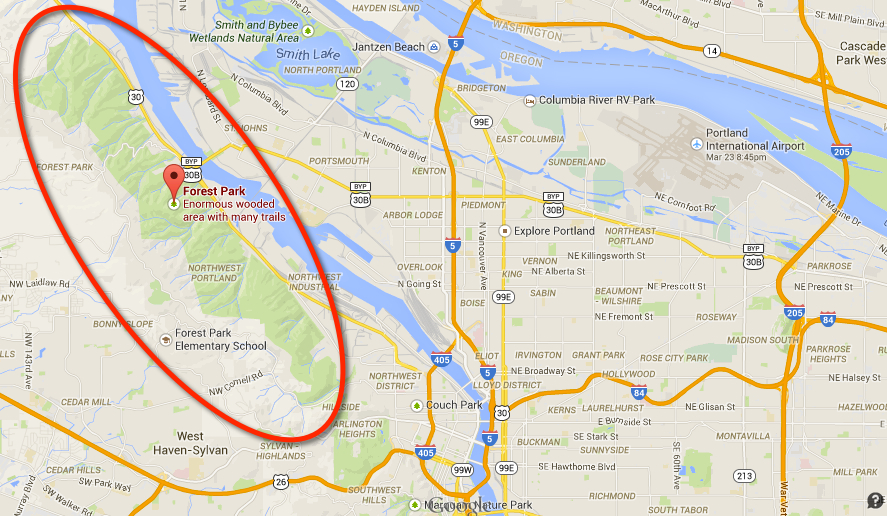 Google maps image of Portland with Forest Park Highlighted in a red circle