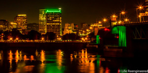 Night shot of Portland over the Willamette River